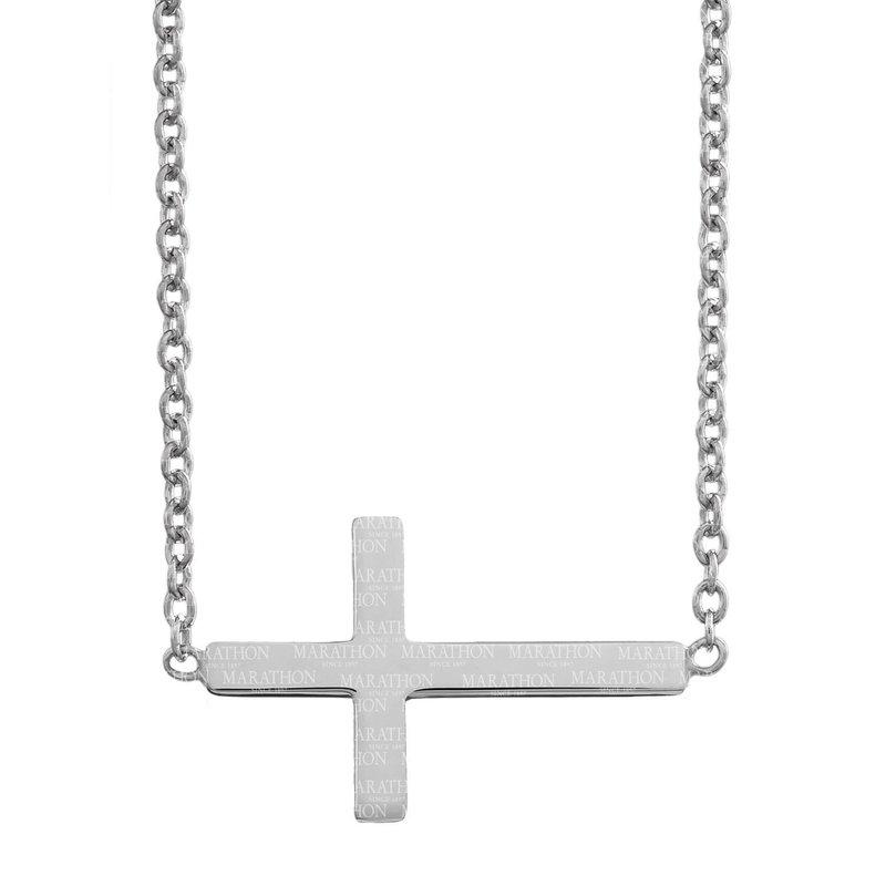 Marathon Co. Marathon Sterling Silver Sideways Cross Necklace