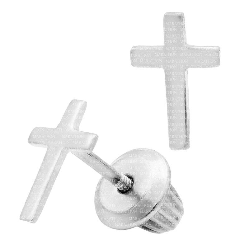 Marathon Co. Marathon Sterling Silver Cross Stud Earrings