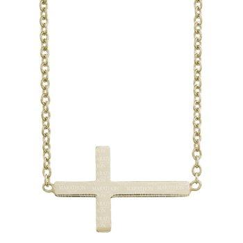 Marathon 14K Gold Filled Sterling Silver Sideways Cross Necklace