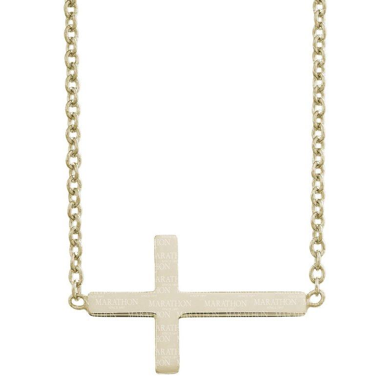 Marathon Co. Marathon 14K Gold Filled Sterling Silver Sideways Cross Necklace