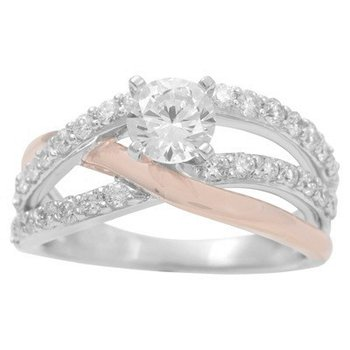 Cross Over Engagement Ring