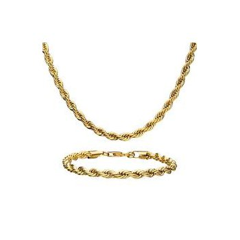 Stainless Steel Gold Plated Rope Chain Set