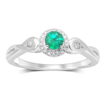14K 0.06Ct Diam  Emerald  Ring