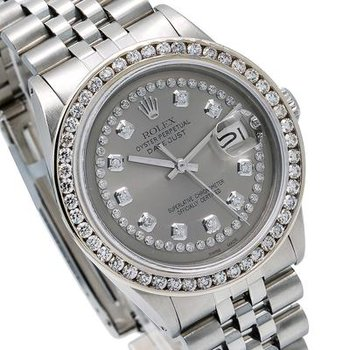 ROLEX DATEJUST 36MM GREY DIAMOND DIAL WITH STAINLESS STEEL BRACELET
