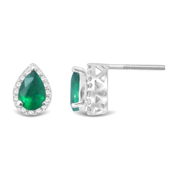 14K 0.18Ct  Diam  Emerald Earring