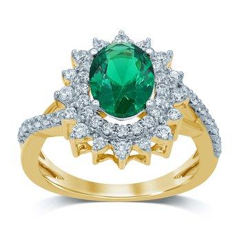 14K 0.70Ct Diam Emerald Ring