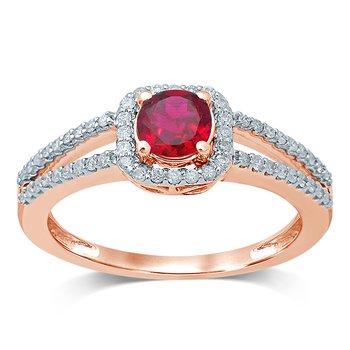 14K 0.25 Ct  Diam  Ruby   Ring