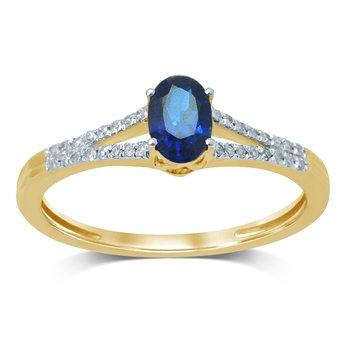 14K 0.10Ct  Diam  Sapphire  Ring