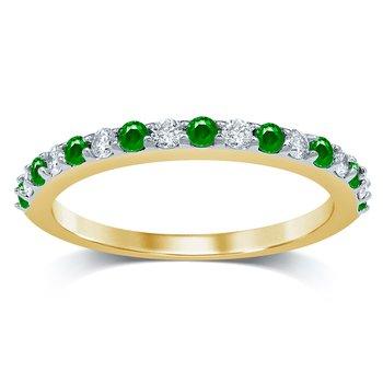 14K 0.20Ct  Diam  Emerald Band