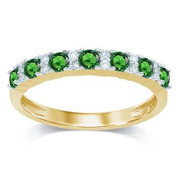 14K 0.10Ct Diam Emerald Ring