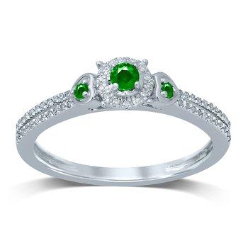 14K 0.12Ct Diam   Emerald