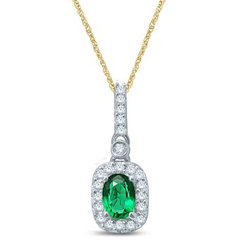 14K  0.16Ct Diam  Emerald  Pendant
