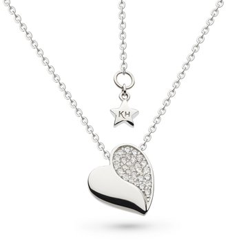 Miniature Sparkle CZ Super Heart Necklace