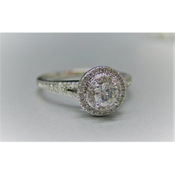 14KW Double Halo Engagement Ring