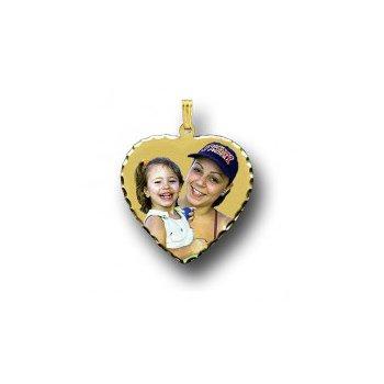 Large Heart Photo Pendant Charm with Diamond Cut Edges