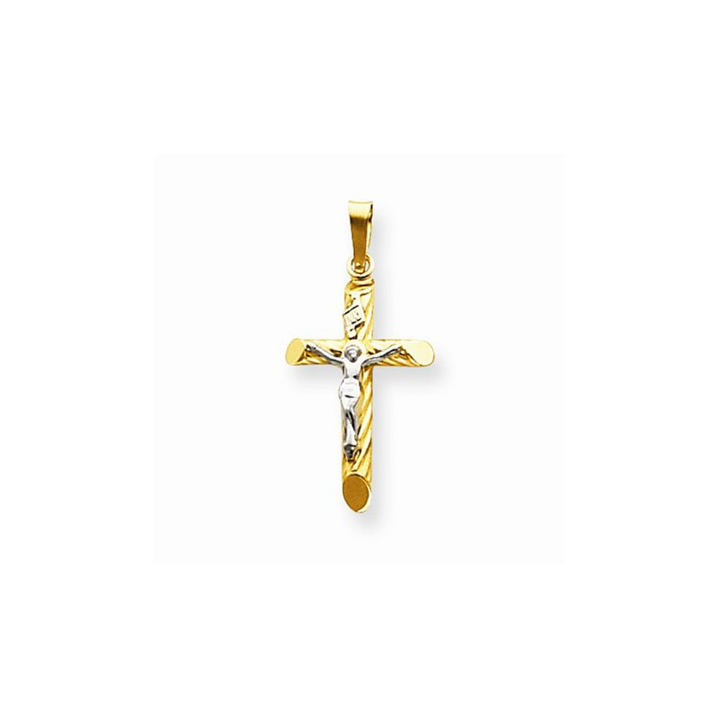 Religious Jewelry 14k Two Tone Cross with Crucifix