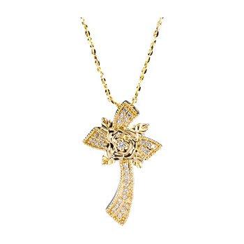 Floral Diamond Cross Necklace