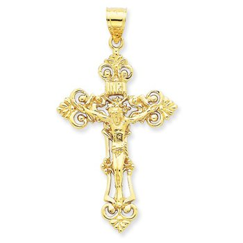 14k Cross with Crucifix-Yellow Gold
