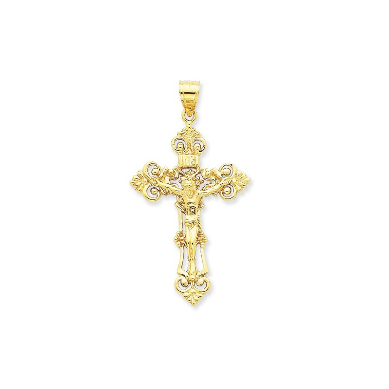 Religious Jewelry 14k Cross with Crucifix-Yellow Gold