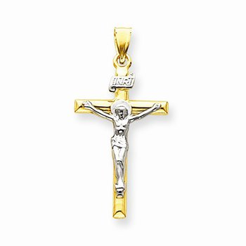 14k Two Tone Cross with Crucifix