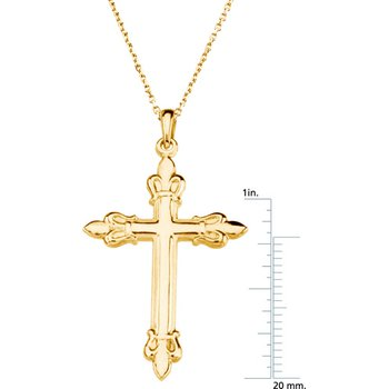 Cross Pendant with Fleur de Lis