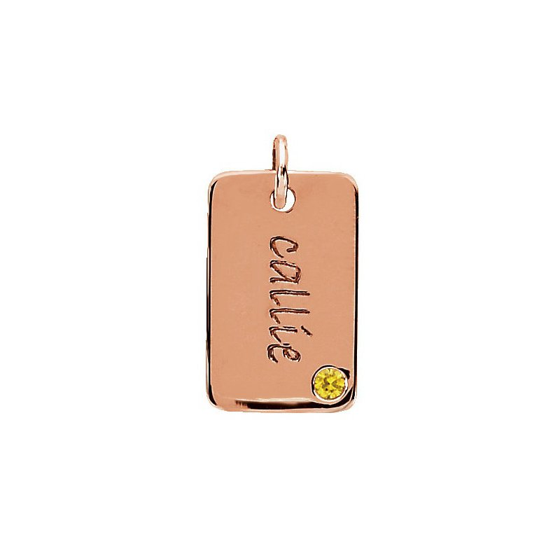 Posh Mommy Engravable Mini Dog Tag Pendant Mounting 14k Rose Gold