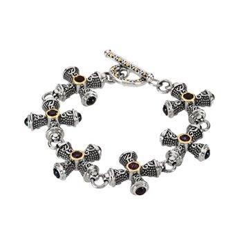 Genuine Amethyst and Sapphire Crosses Bracelet