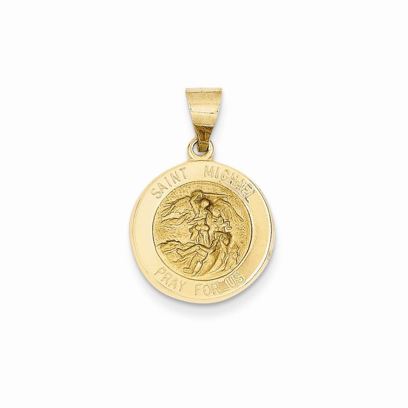 Religious Jewelry 14k Yellow Gold St Michael Medal 17mm
