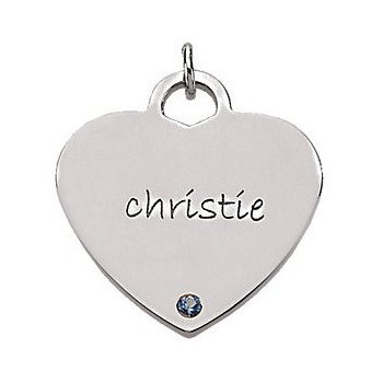 Engravable Heart Shaped Pendant Mounting Sterling Silver