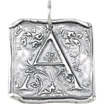 Initial Vintage Pendant Sterling Silver