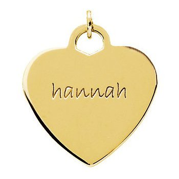 Engravable Heart Shaped Pendant 14k Yellow Gold