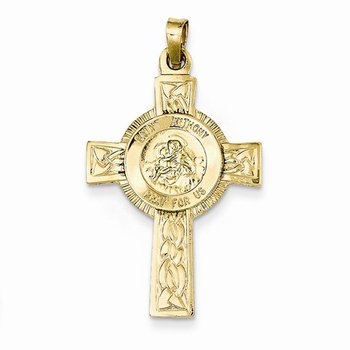 14k Yellow Gold St Anthony Cross