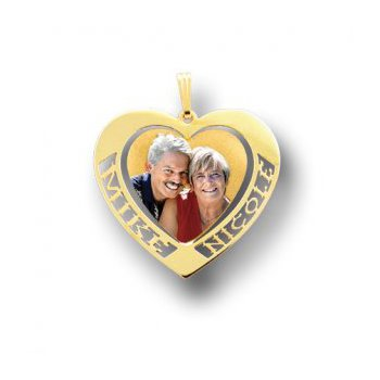 Double Name Heart Photo Pendant