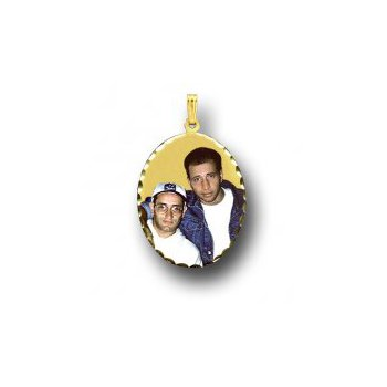 Large Oval Photo Pendant Charm with Diamond Cut Edges