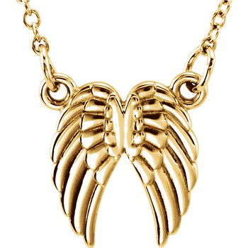 """Angel Wings 18"""" Necklace 14k Yellow Gold"""