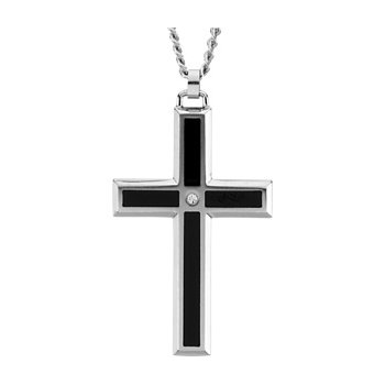 Enamel Inlay Cross Necklace