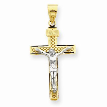 14k Two Tone Lattice Cross with Crucifix