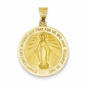 14k Round Miraculous Medal (Hollow)