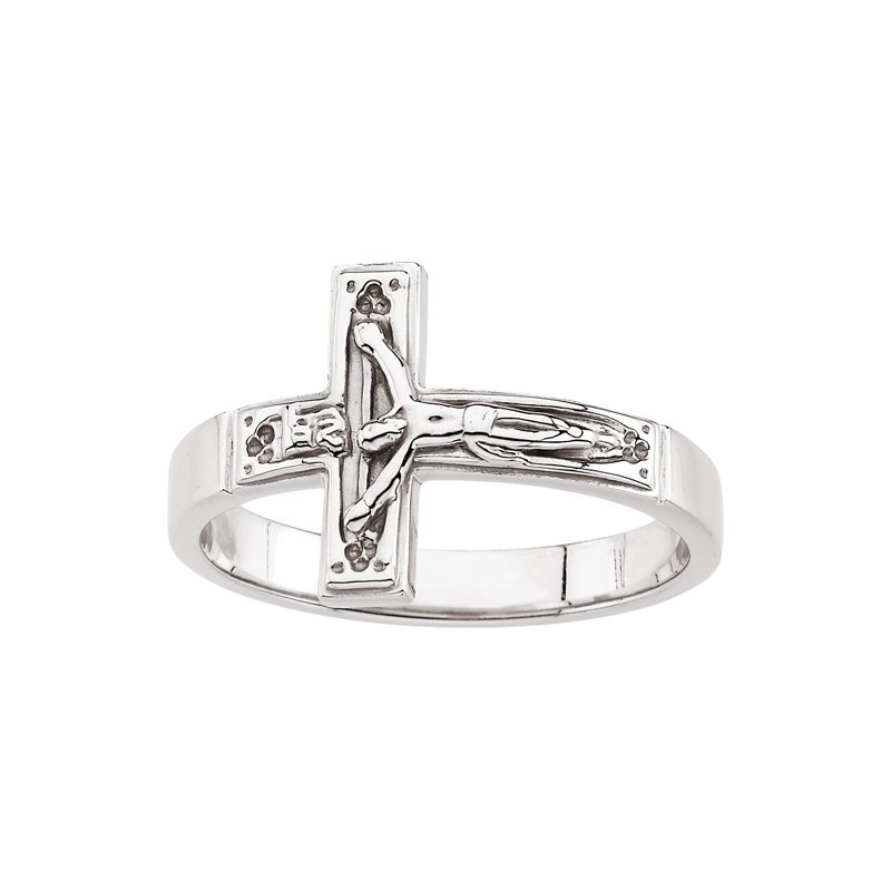 Religious Jewelry Crucifix Chastity Ring with Box - Sizes 8-12