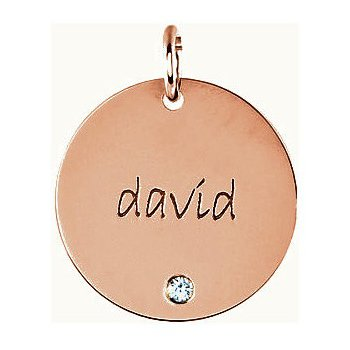 Engravable Extra Large Disc Pendant Mounting 14k Rose Gold
