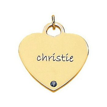 Engravable Heart Shaped Pendant Mounting 14k Yellow Gold