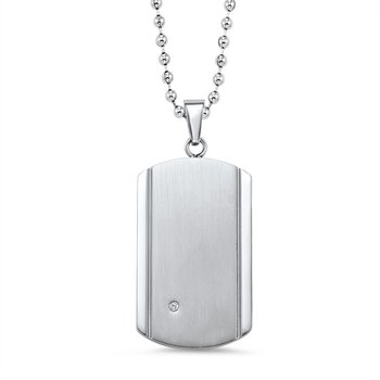 Stainless Steel Dog Tag with Diamond Accent