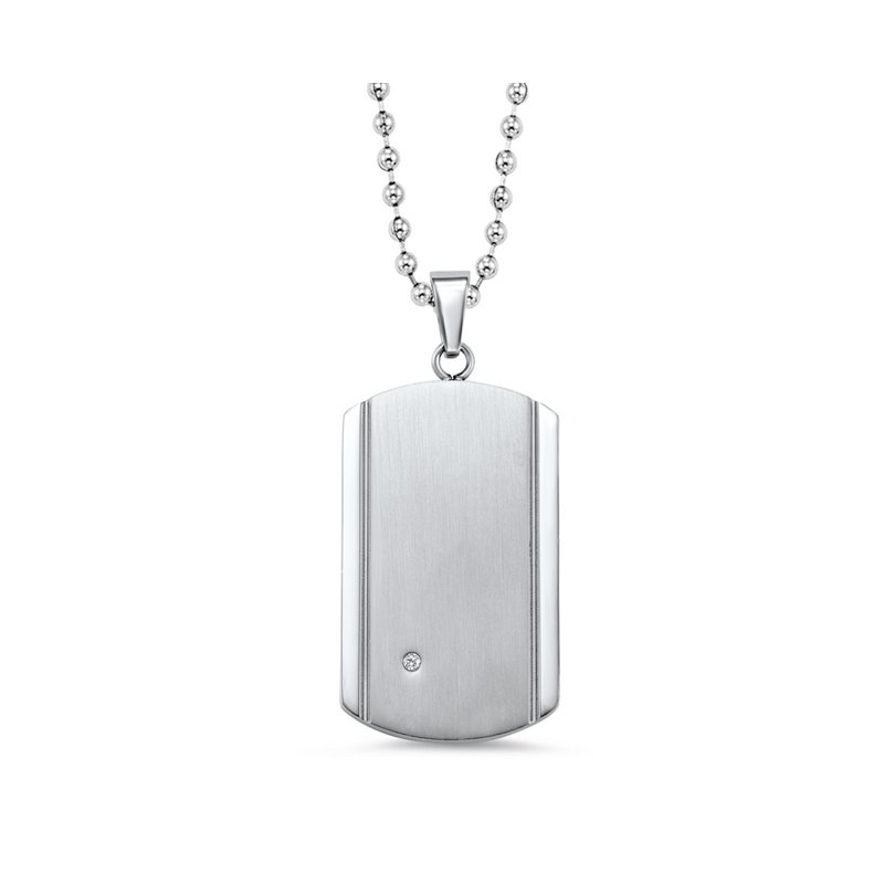 Bryan Beauties Stainless Steel Dog Tag with Diamond Accent