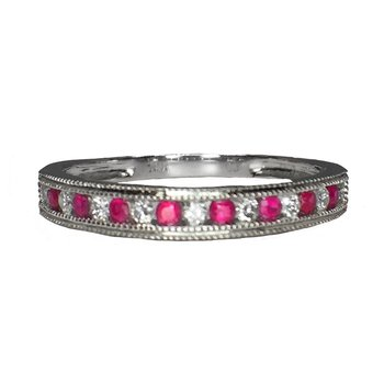 Channel Set Ruby and Diamond Band