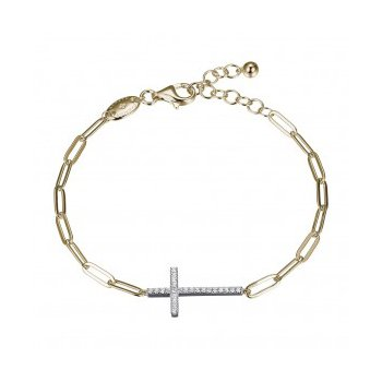 East West Cross on Paperclip Link Bracelet