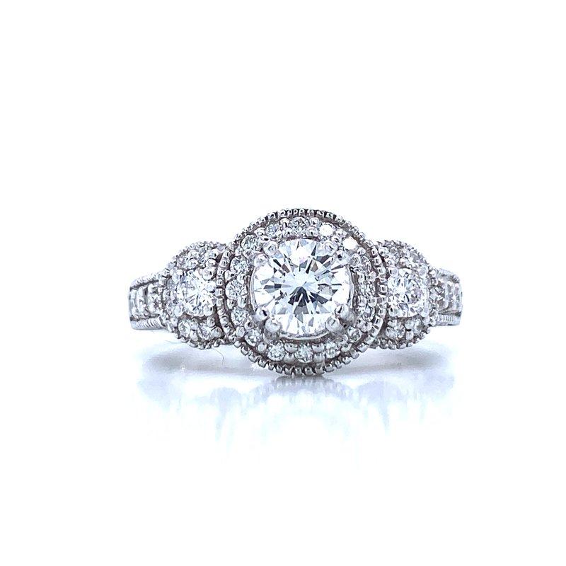 Bryan Beauties Three Stone Diamond Ring with Halos