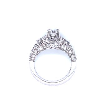Three Stone Diamond Ring with Halos