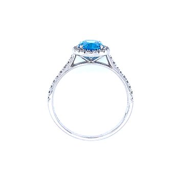 Blue Topaz  & Diamond Ring 14kw
