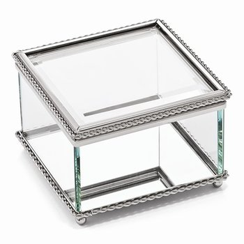 Glass Trinket Box with Nickel Plated Edging