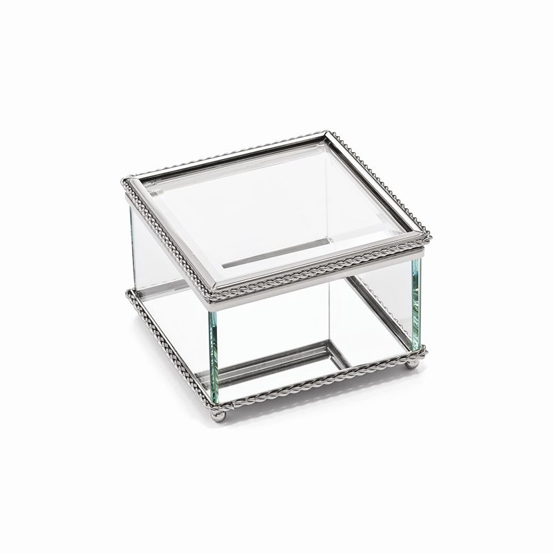 Bryan Beauties Glass Trinket Box with Nickel Plated Edging